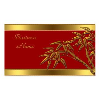 Profile Card Asian Red Gold Bamboo Business Card