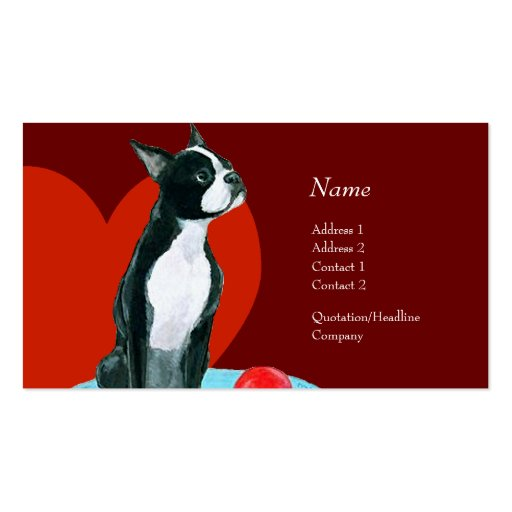 Profile Card - Boston Terrier Business Card Templates