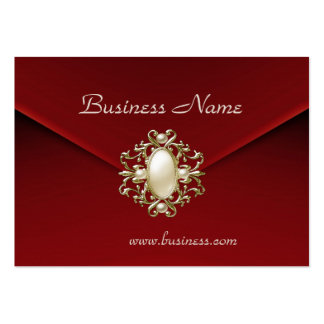 Profile Card Business Rich Red Velvet Pearl Jewel Large Business Card