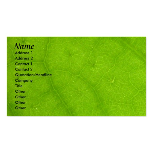 Profile Card Template - Green Leaf Texture Business Card Templates