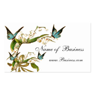 Profile Card Vintage Butterflies White Business Card