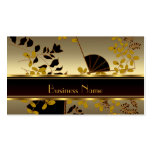 Profile Card Vintage Floral Gold Black Asian Double-Sided Standard Business Cards (Pack Of 100)