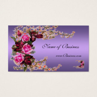 Profile Card Vintage Mauve Purple Pink Roses