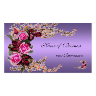 Profile Card Vintage Mauve Purple Pink Roses Business Card