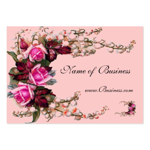 Profile Card Vintage Pink Roses Business Card Template