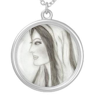 Profile Mary Round Pendant Necklace
