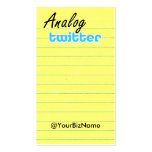 Profile / Note Card! AnalogTwtr yelbk lined Business Cards