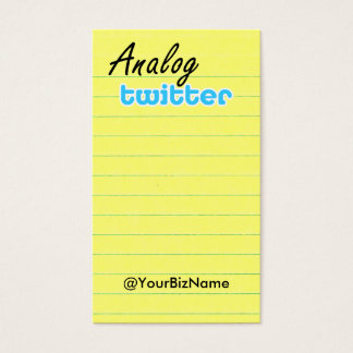 Profile / Note Card! AnalogTwtr yelbk lined Business Card