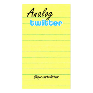 Profile / Note Card! AnalogTwtr yelbkinfo Business Card