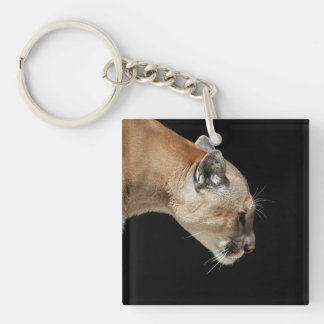 Profile of a Cougar Double-Sided Square Acrylic Keychain