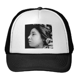 Profile of a Geisha Black and White Beauty Vintage Trucker Hat