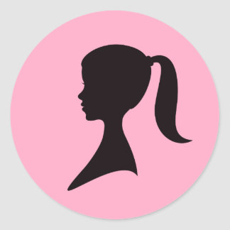 Profile of a girl with pony tail classic round sticker