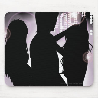 Profile of a man dancing with women in a nightclub mouse pads