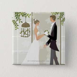 Profile of a man giving flowers to a woman pinback button