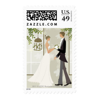 Profile of a man giving flowers to a woman stamp