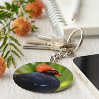 Profile of a Roul-Roul Crested Wood Partridge Keychain