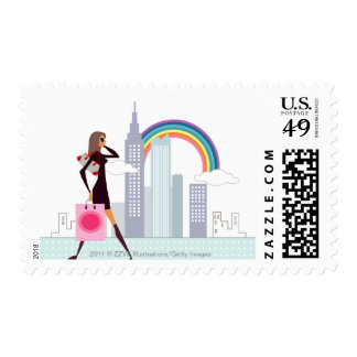Profile of a woman walking holding a shopping bag postage