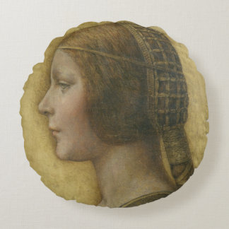 Profile of a Young Fiancee Round Pillow