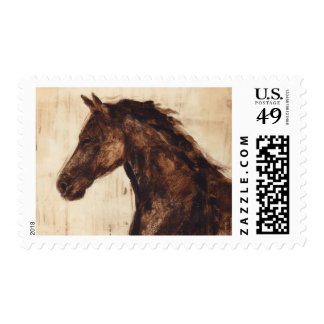 Profile of Brown Wild Horse Stamps