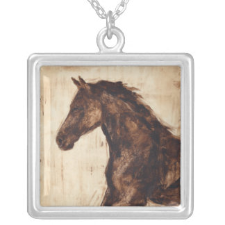 Profile of Brown Wild Horse Silver Plated Necklace