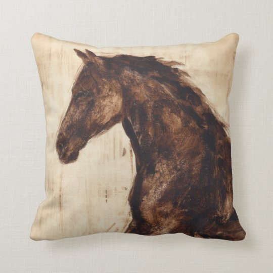 Profile Of Brown Wild Horse Throw Pillow Zazzle Com