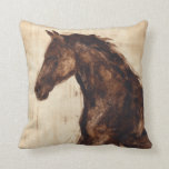 "Profile of Brown Wild Horse Throw Pillow<br><div class=""desc"">The beauty of this dark horse is perfectly captured by two simple colors: brown and beige and the sharpness of the ink used in this painting makes it even more realistic. This contemporary fine art print representing a profile of a brown stallion will add character to any living room, dining...</div>"