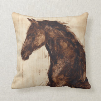 Profile of Brown Wild Horse Throw Pillow