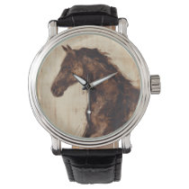 Profile of Brown Wild Horse Wristwatch