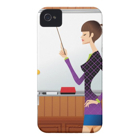 Profile of businesswoman pointing whiteboard iPhone 4 case