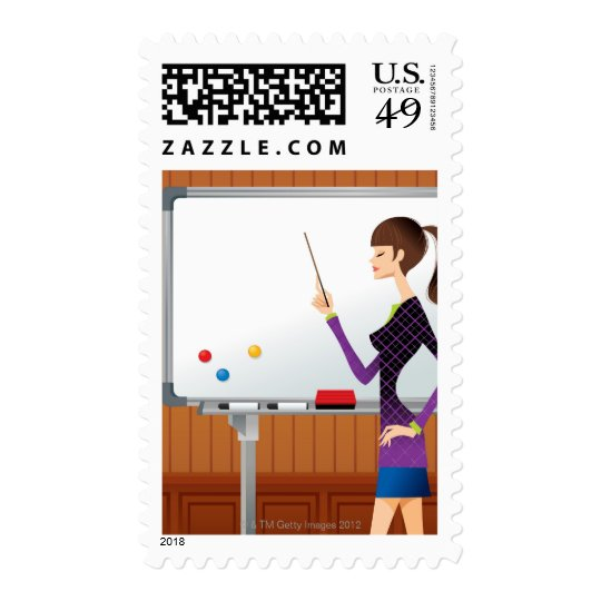 Profile of businesswoman pointing whiteboard postage