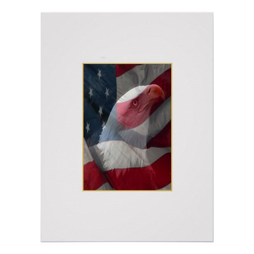Profile of Eagle with Tassel and Flag Poster