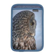Profile of Great Gray Owl Wildlife Photo - Raptor Sleeve For iPad Mini