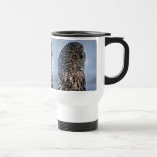 Profile of Great Gray Owl Wildlife Photo - Raptor Travel Mug