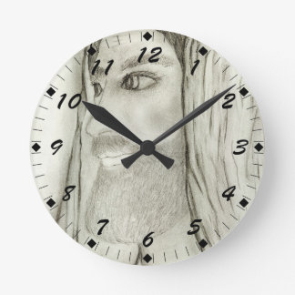 Profile of Jesus Round Clock