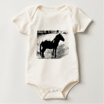 Profile of Mule in Black and White Baby Bodysuit