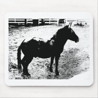 Profile of Mule in Black and White Mouse Pad