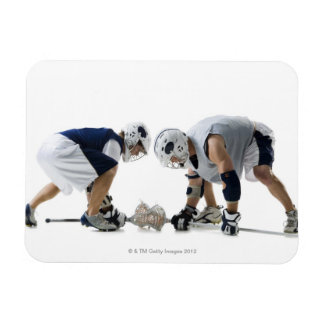 Profile of two young men playing lacrosse rectangular photo magnet