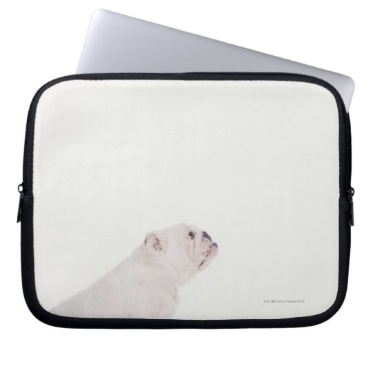 Profile of White Bulldog Laptop Sleeve