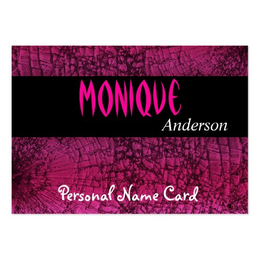 Profile Personal Name Card Black Crackle Pink Large Business Cards (Pack Of 100)