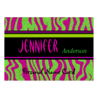 Profile Personal Name Card Lime Green Pink Swirl