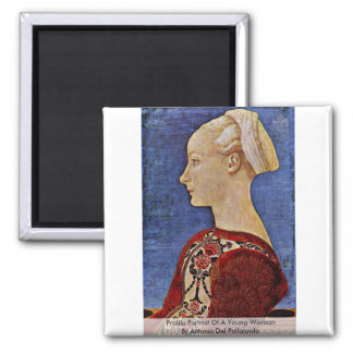 Profile Portrait Of A Young Woman 2 Inch Square Magnet