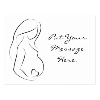 Profile Pregnant Woman Belly Heart Postcard