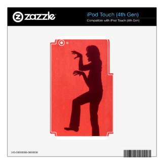 Profile shadow of woman on red wall decal for iPod touch 4G