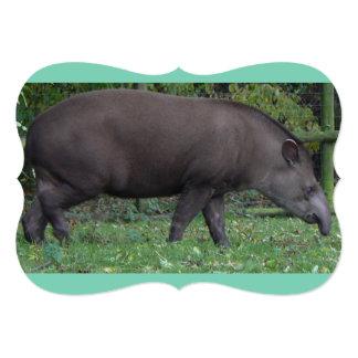 Profile View of Large Brown Tapir 5x7 Paper Invitation Card