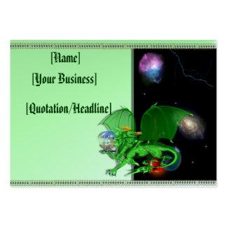 Profilecard_chubby_horizo verde del dragón del uni tarjetas de visita grandes