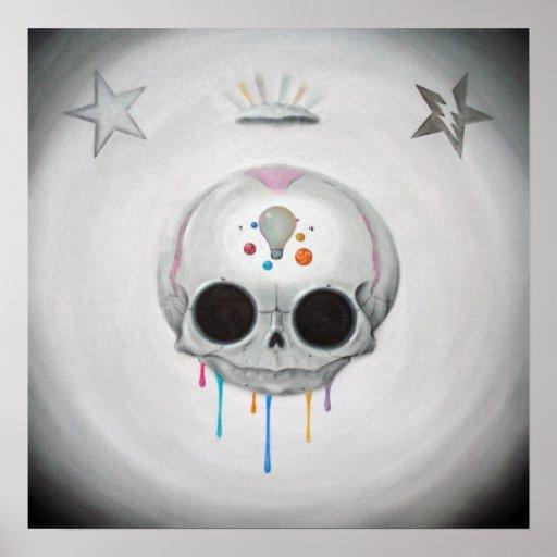 profundamente en la impresión del arte del cráneo posters