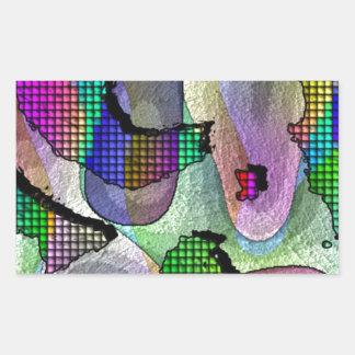 Profundidad, capas, modelo en colores pegatina rectangular