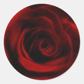 Profundidad del rosa rojo del amor pegatina redonda