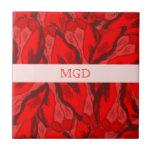 Profusión de Nouveau del arte de tulipanes rojos c Teja Ceramica