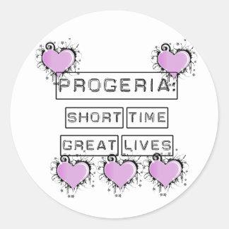 Progeria: Grandes vidas del breve periodo de Pegatina Redonda